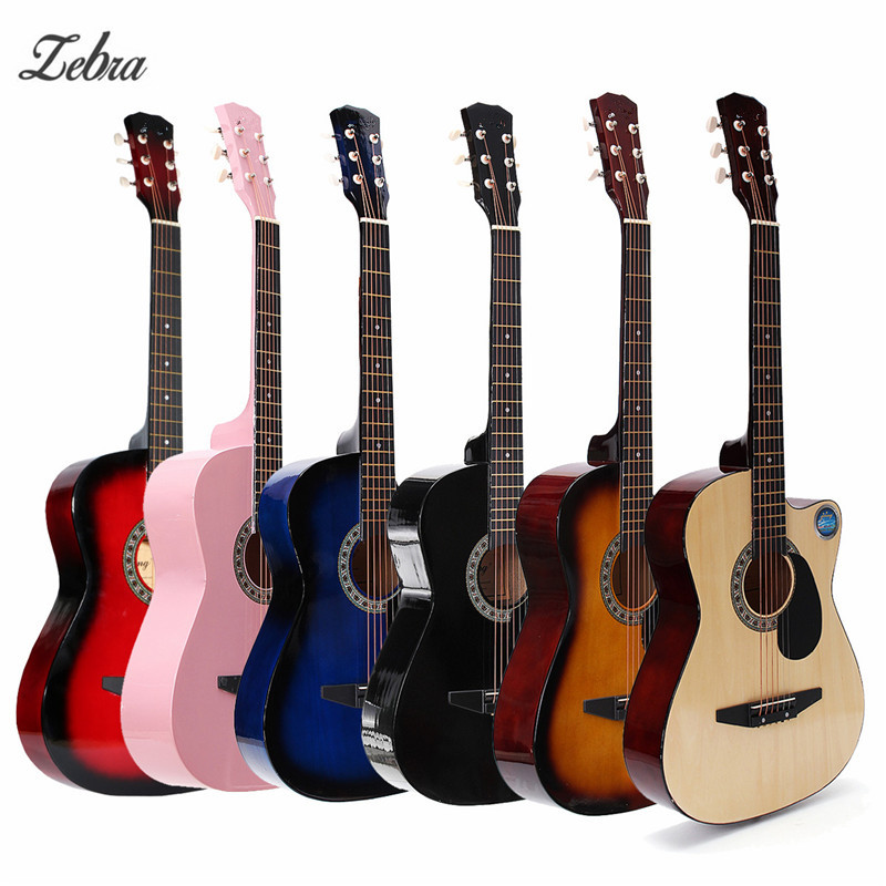 Zebra 38 Inch Wooden Folk Guitarra Acoustic Electric Bass Guitar 6 Strings Ukulele with Case Bag for Musical Instrument Lover 26 inch mahogany soprano ukulele combo bass guitar guitarra musical instrument set for beginner with kit strap bag picks string
