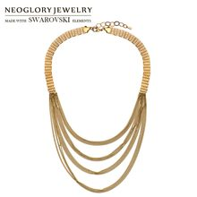 Neoglory Metal Coffee Gold Color Fashion Long Chain Multi Layer Charm Necklace Women Jewelry Classic Fashion Party Vintage(China)