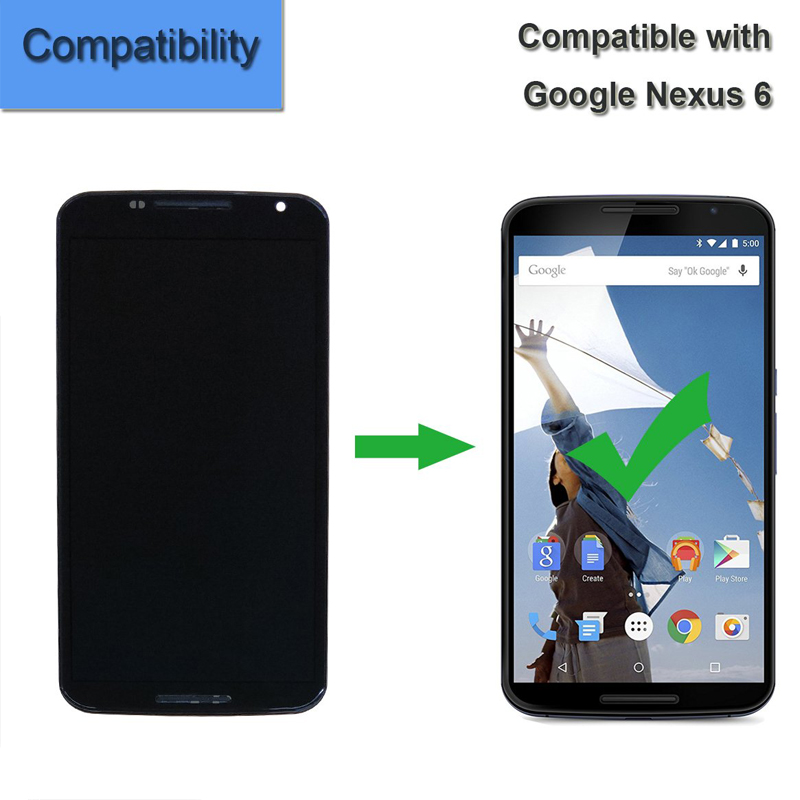 for Moto Google Nexus 6 XT1100 XT1103 Replacement Amoled Touch Screen Display LCD Digitizer Assembly with Framefor Moto Google Nexus 6 XT1100 XT1103 Replacement Amoled Touch Screen Display LCD Digitizer Assembly with Frame
