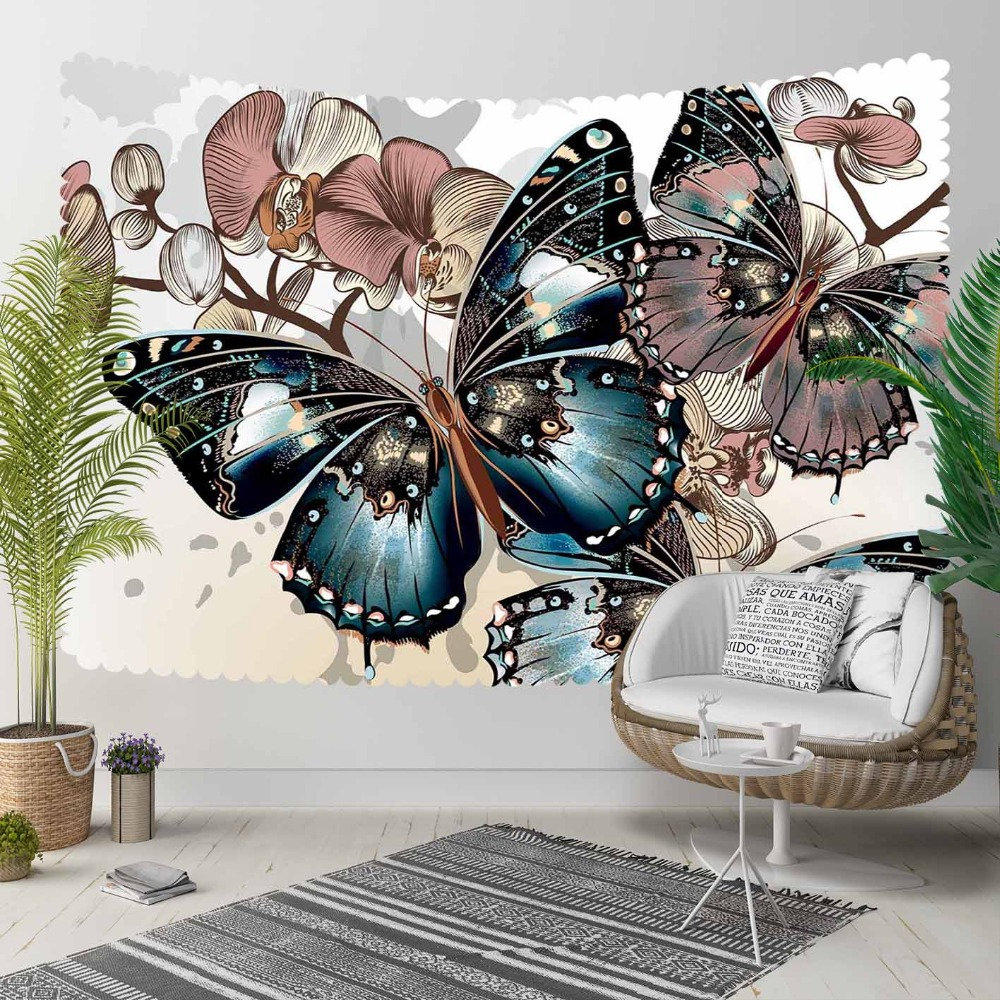 Else Brown Tree Branch Florals Blue Big Butterfly 3D Print Decorative Hippi Bohemian Wall Hanging Landscape Tapestry Wall Art