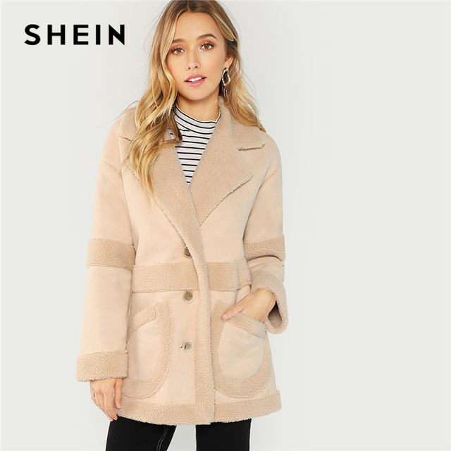 64f9a5266c SHEIN Apricot Elegant Office Lady Pocket Front Faux Shearling Teddy Single  Breasted Coat Autumn Streetwear Women