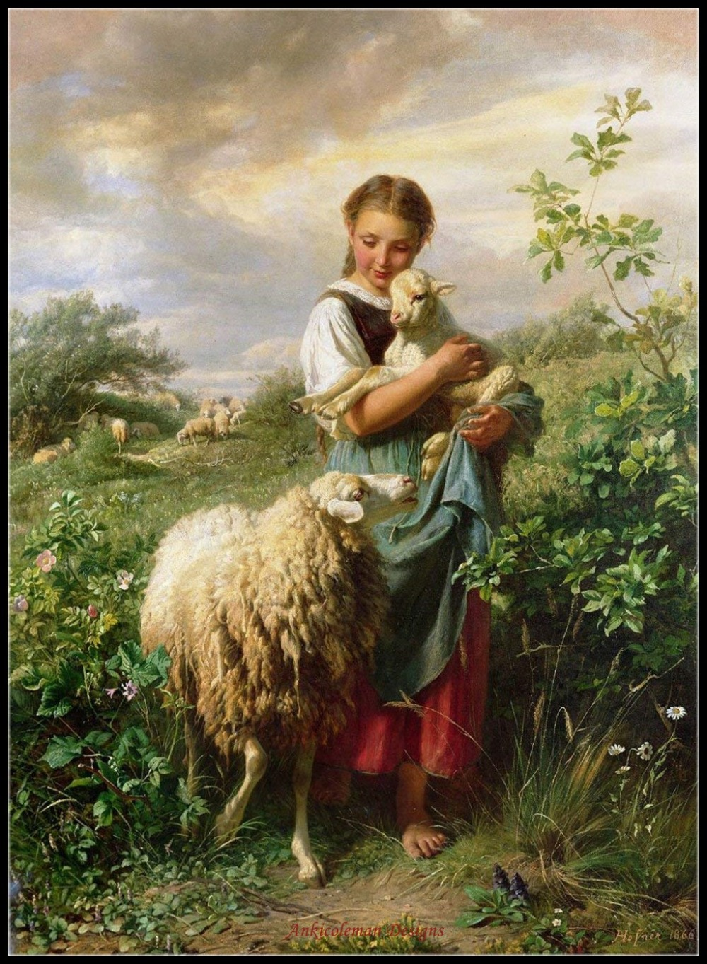 The Shepherdess - Counted Cross Stitch Kits - DIY Handmade Needlework For Embroidery 14 Ct Cross Stitch Sets DMC Color