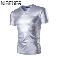 NIBESSER Summer Short Sleeve t-shirt Fashion Hip Hop Sliver Top Tees 2017 Male Slim Fit Performance Stage Tee Shirts Z30