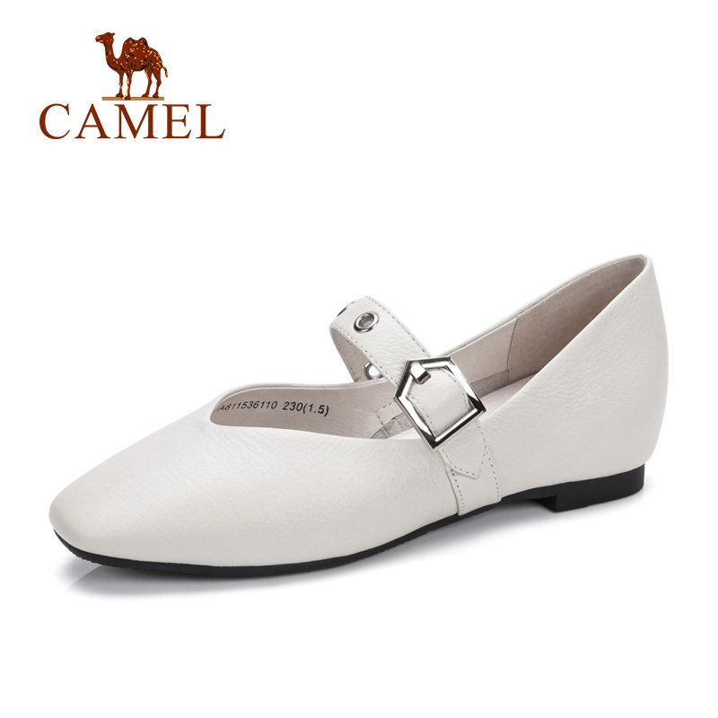 CAMEL Women Spring New Single Shallow Shoes Woman Wild Genuine Soft Leather Buckle Comfort Casual Shoes
