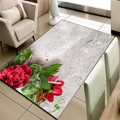 Else Gray Wall On Red Roses Green Leaf 3d Pattern Print Non Slip Microfiber Living Room Decorative Modern Washable Area Rug Mat
