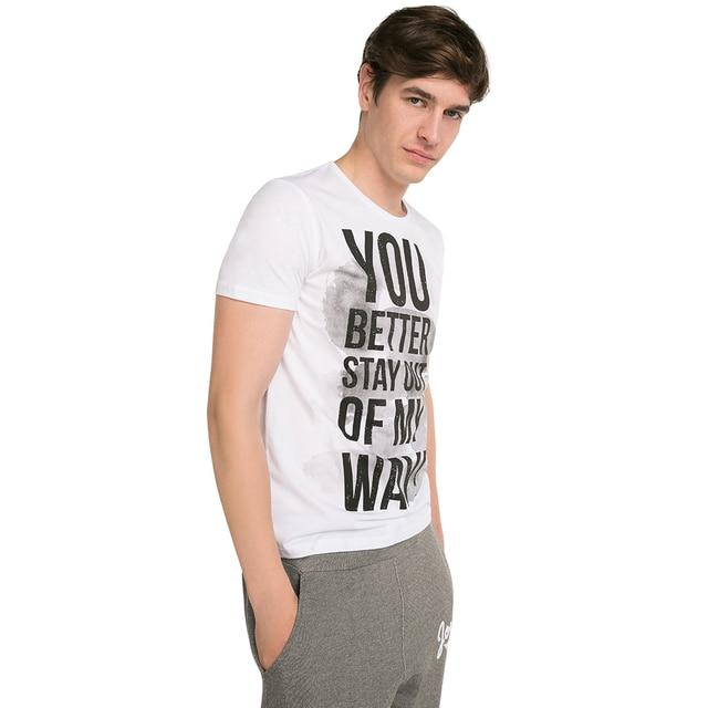 Gloria Jeans Хлопковая футболка с текстовым принтом мужская BTS011839