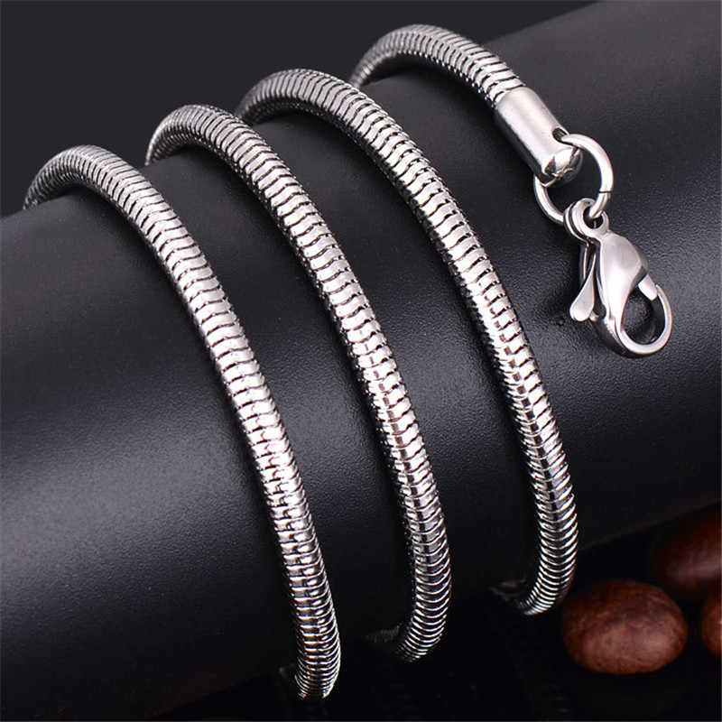 Wholesale 316L Stainless Steel Snake Chain Necklace 0.9MM 2MM 16-28inches Fashion Jewelry for Men and Women Fit Pendant