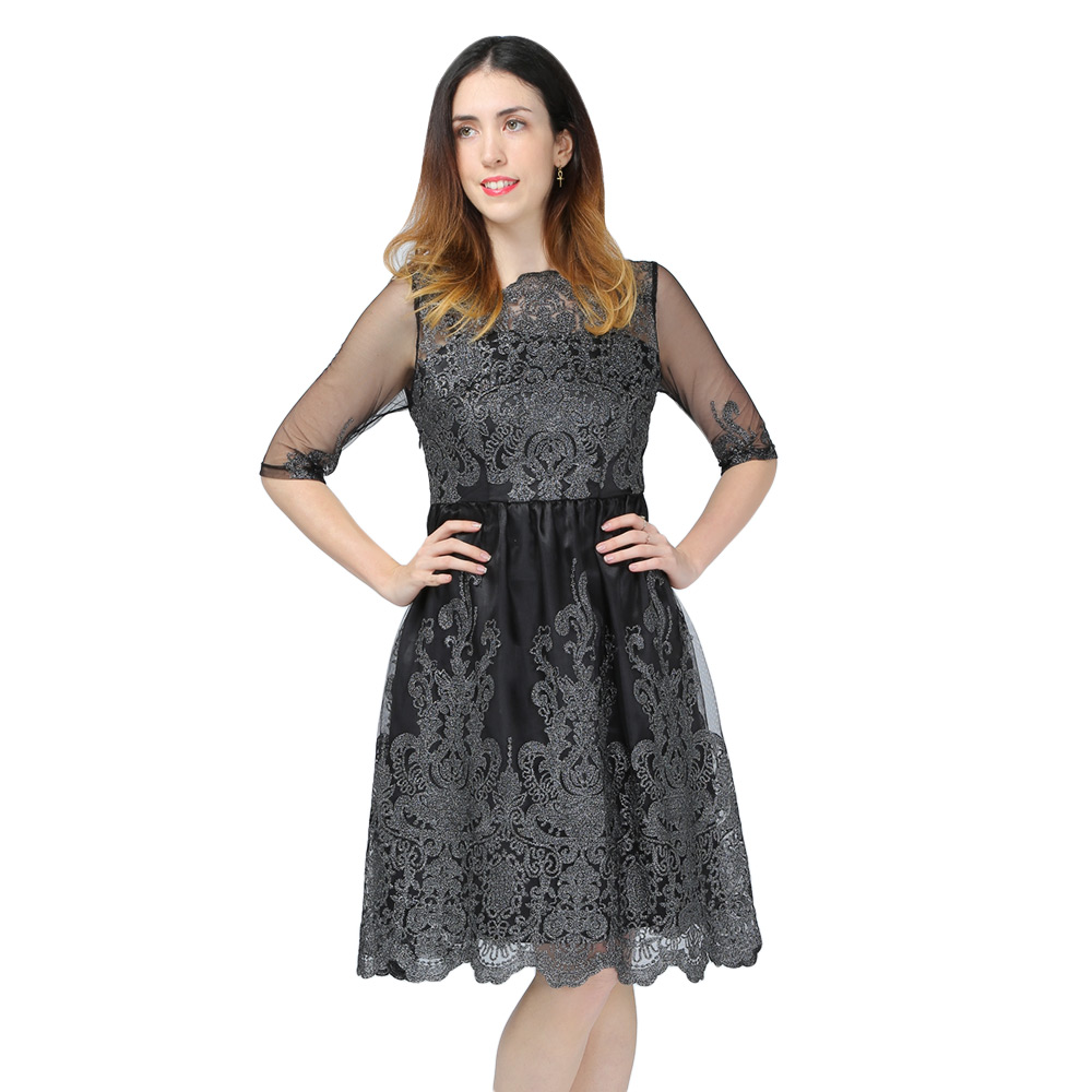 d5b0f7a893 Sukienka wieczorowa z koronką silver elegancka rozkloszowana S - XL ...