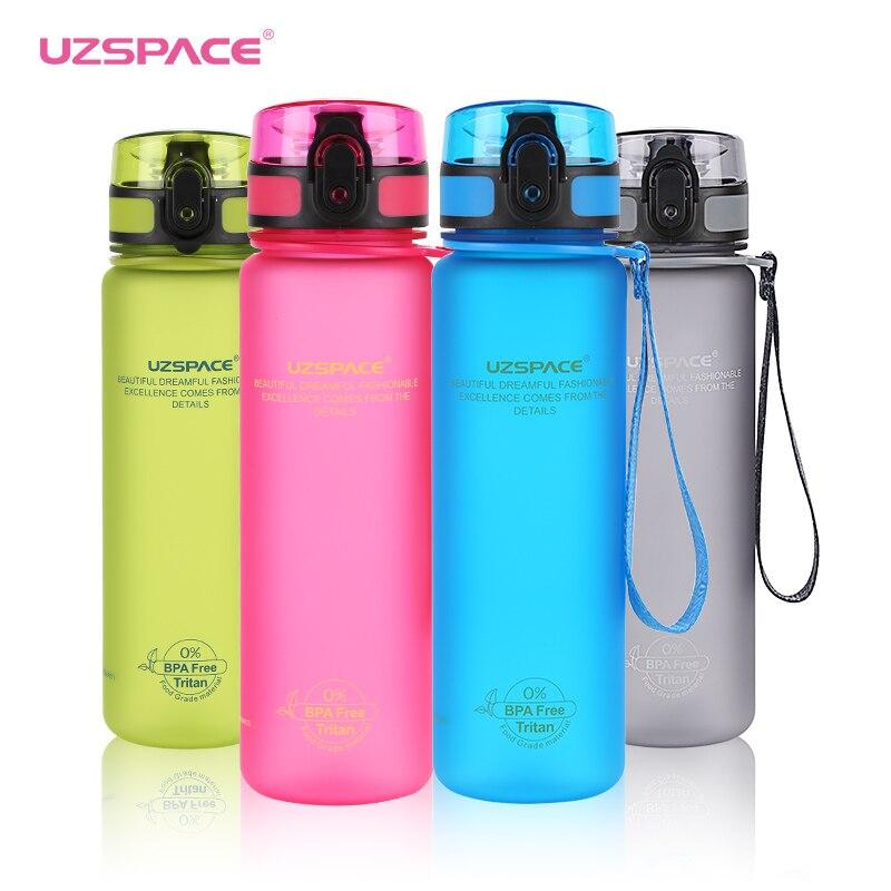Botellas de agua deportivas UZSPACE Tritan Shaker viaje al aire libre Camping senderismo Escuela de plástico beber mi botella para agua 650 ml/500 ml 1L