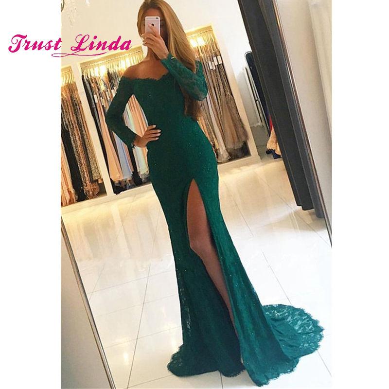 Lace Long Sleeve Bridesmaid Dress Boat Neckline Floor Length Formal Dress Women Wedding Party Dress Side Slit