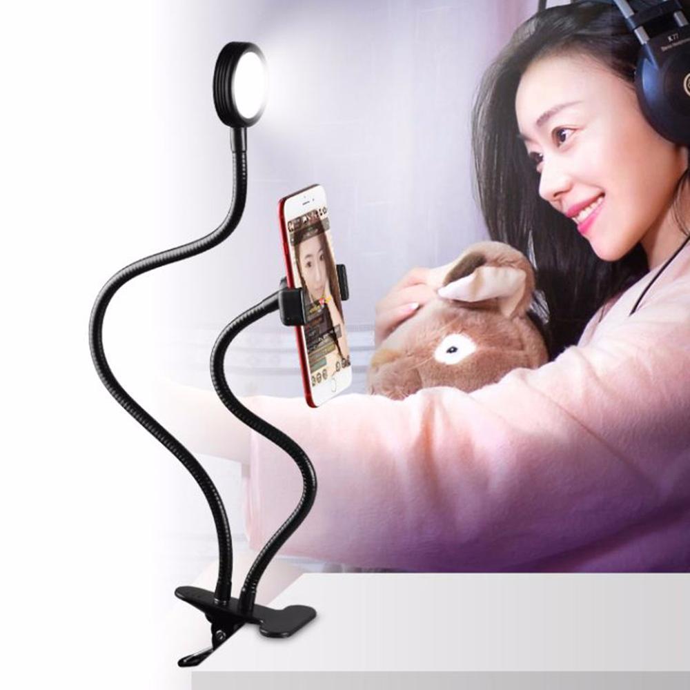 Светодиодной вспышке Selfie кольцо света для живой поток видео чат жить вещания с гибкий держатель телефона для смартфонов Зеркальные фотокам…