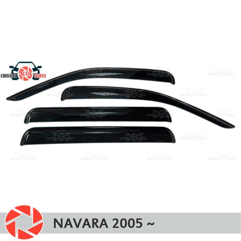 Window deflector for Nissan Navara 2005- rain deflector dirt protection car styling decoration accessories molding цена