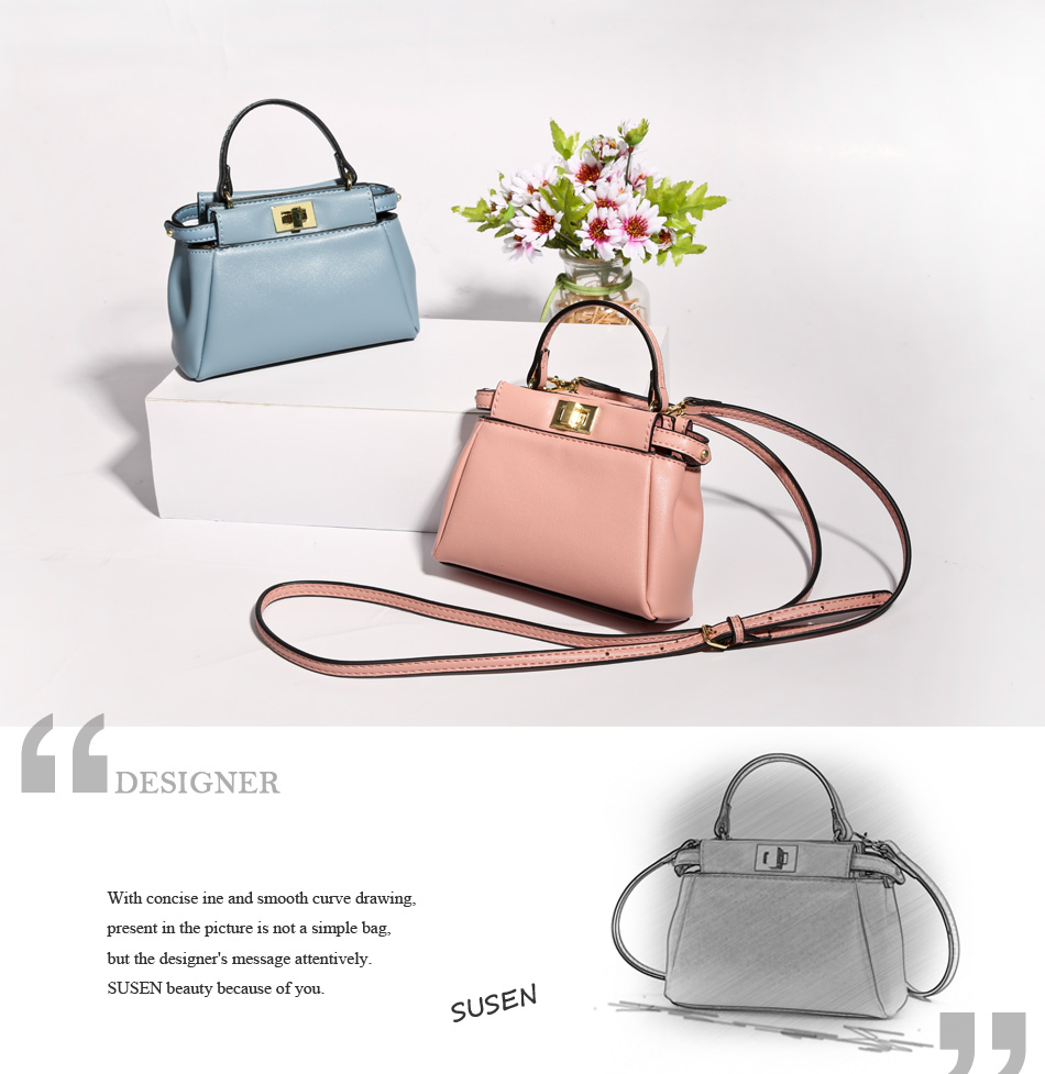 SUSEN PU Women Fashion Handbags Simple Style zipper closure top solid color  Messenger bag high quality Adjustable strap Handbag 31098712ea079