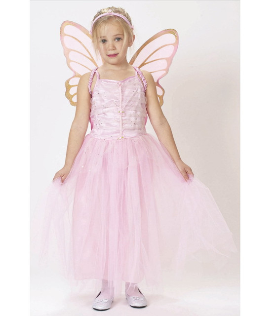 Kid Girl Pink Butterfly Costume Fairy Princess Stage Show Dress With Wings