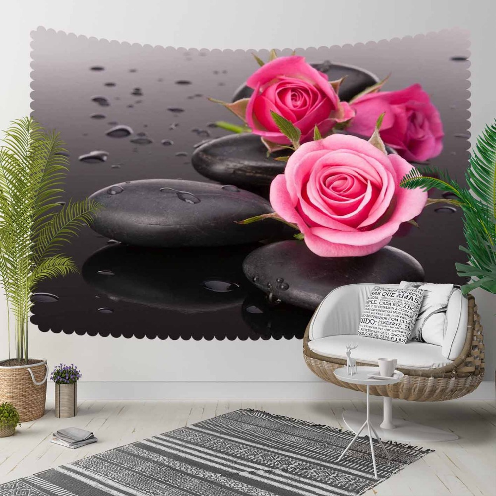 Else Black Spa Stones On Pink Roses Flowers Floral 3D Print Decorative Hippi Bohemian Wall Hanging Landscape Tapestry Wall Art