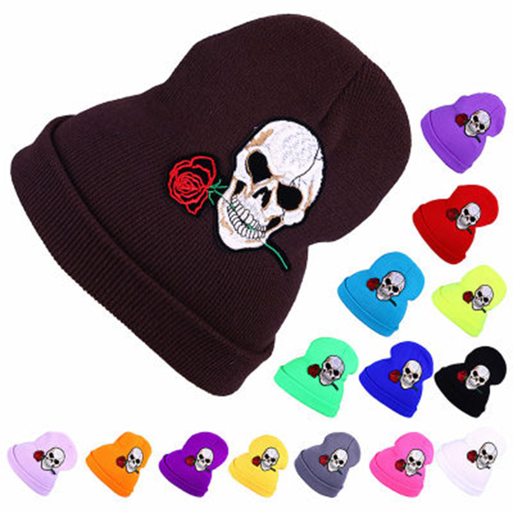 2017 Warm Wool Winter Hat Women Hats Girls Skull And Red Rose Cap Autumn Winter Fashion Beanies Casual Knitted Caps the new children s cubs hat qiu dong with cartoon animals knitting wool cap and pile