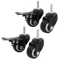 UXCELL 8Mm Thread 1 5 Wheel Rotatable Shopping Trolley Brake Swivel Caster Black 4Pcs