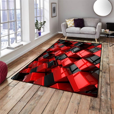 Else Red Black Abstract Modern Cubes Boxes  3d Print Non Slip Microfiber Living Room Decorative Modern Washable Area Rug Mat