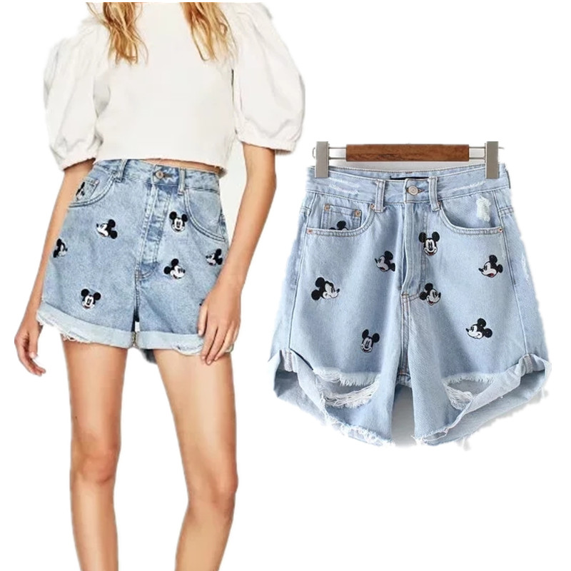 Withered Mom Denim Shorts Women Vintage Mouse Animal Cartoon Embroidery Harem Feminina High Waist Denim Shorts Women Plus Size