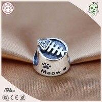 Heißer Verkauf Mode Gute Qualität 925 Sterling Silber Katze Schüssel Charme Passend Europäischen Berühmte Armband