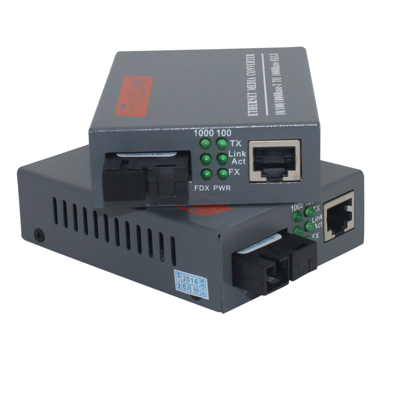 1 Pair HTB-<font><b>GS</b></font>-03 A/B Gigabit Fiber Optical Media Converter 1000Mbps Single Mode Single Fiber SC Port 20KM External <font><b>Power</b></font> <font><b>Supply</b></font> image