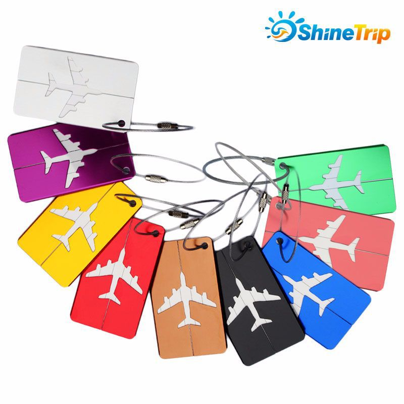 ShineTrip 5pcs/lot Rectangle Aluminium Luggage Tags Baggage Name Tags Suitcase Address Label Holder Travel Accessories