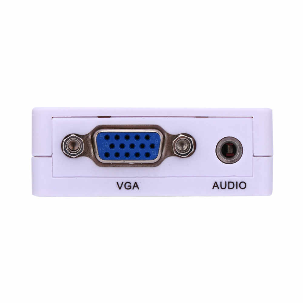 Белый 1080 P мини VGA к HDMI VGA2HDMI аудио-видео конвертер адаптер для HDTV проектор портативных ПК DVD высокое качество