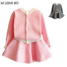 11458519143 Filles Robe 2018 Printemps Nouveau Coton Plissée Automne et D hiver Tricoté  Filles Cardigan Commerce Extérieur Enfants de Robe