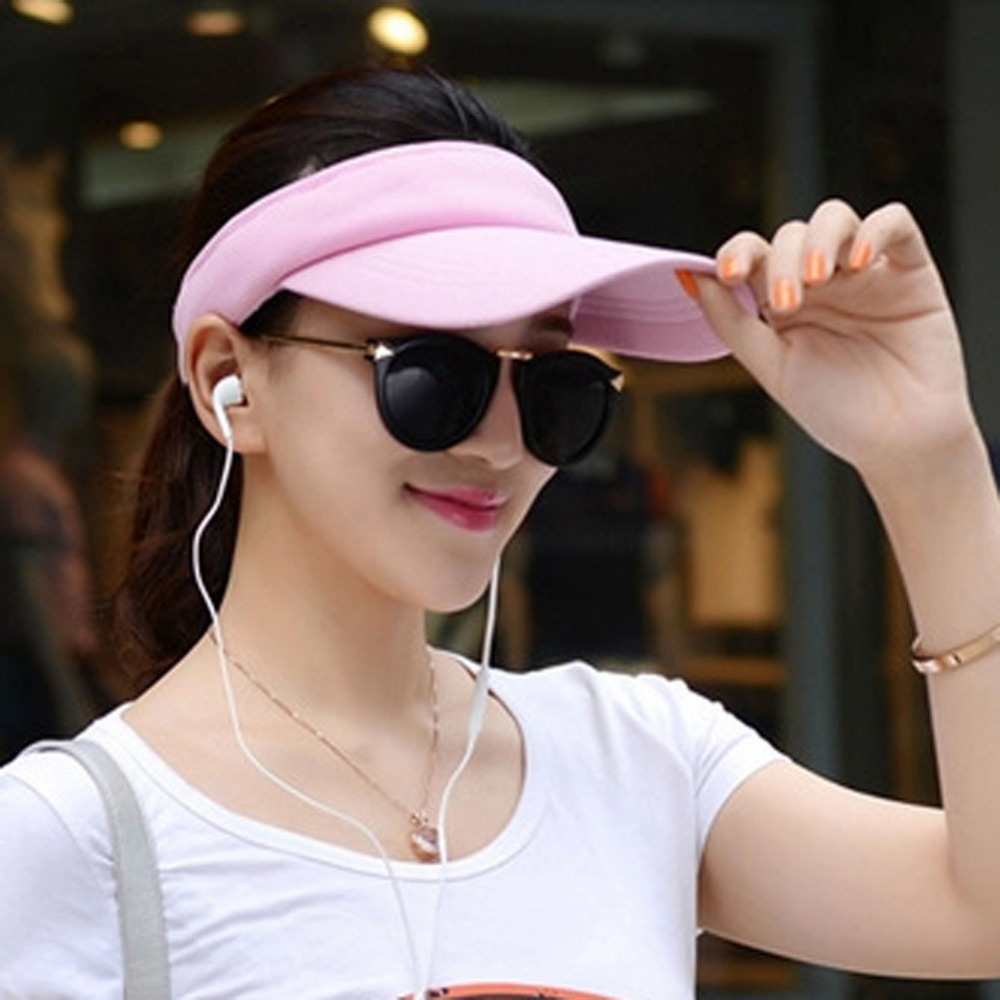 Fashion Women Adjustable Solid Women Summer Sun Visor Hat Sport Golf Tennis Baseball Caps Hollow Top 56-60cm Adjustable
