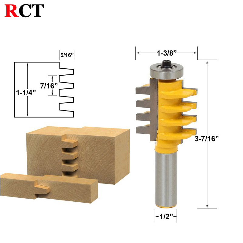 1PC 1/2 inch Shank Rail and Stile Finger Joint Glue Router Bit Cone Tenon Woodwork Cutter Power Tools RCT 15380 2pcs high quality 1 2 inch shank rail
