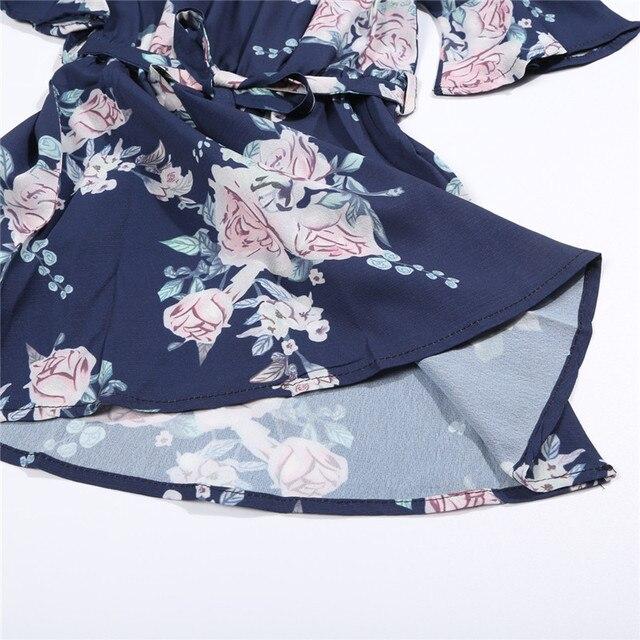 Mother Daughter Family Matching Outfits Off Shoulder Floral Dress Summer Chiffon Girl Women Boho Loose Dresses Sundress Z3 5