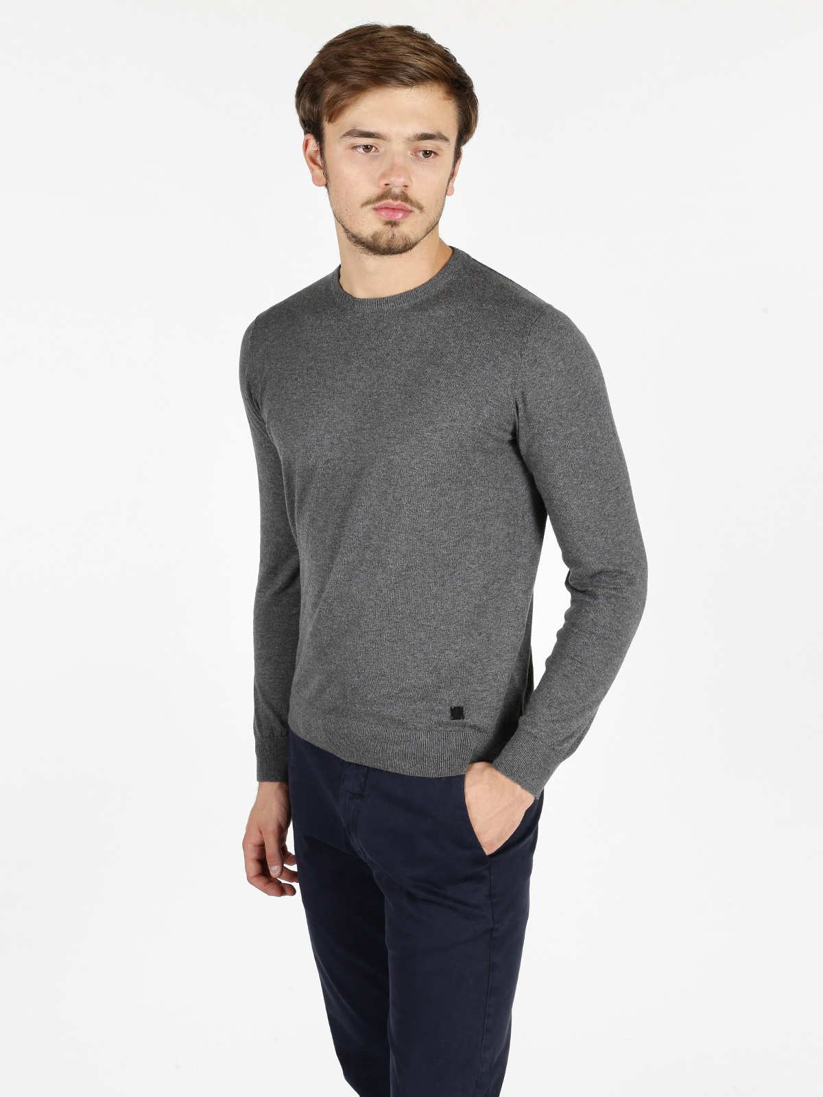 Cotton And Cashmere Sweater Round Neck-Gray