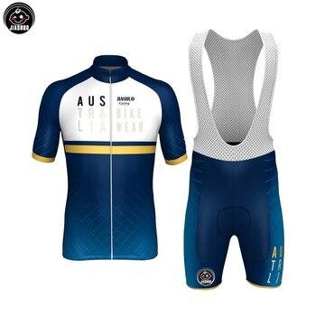 ¡Novedad de 2018! Conjuntos de ropa y pantalones cortos clásicos para ciclismo de equipo de AUSTRALIA azul, Jersey y pantalones cortos de Babero con almohadilla de Gel transpirable a elegir JIASHUO