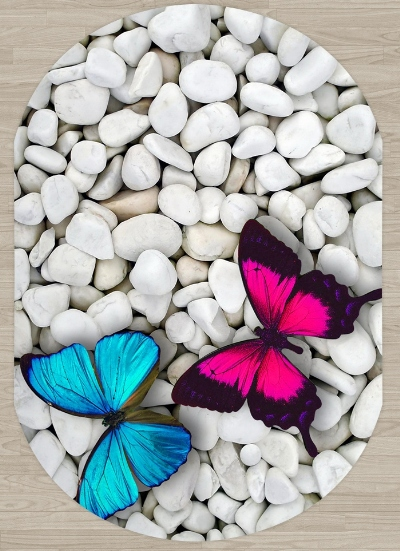 Else White Pebble Stones On Pink Blue Butterfly 3d Print Non Slip Microfiber Living Room Modern Oval Washable Area Rug Carpet