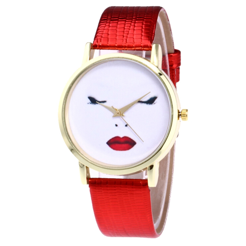 2018 New Fashion Style Lovely Smile Face Watch Women Neutral Cute Expression Casual Faux Leather Band Quartz Watch Wrist Watch