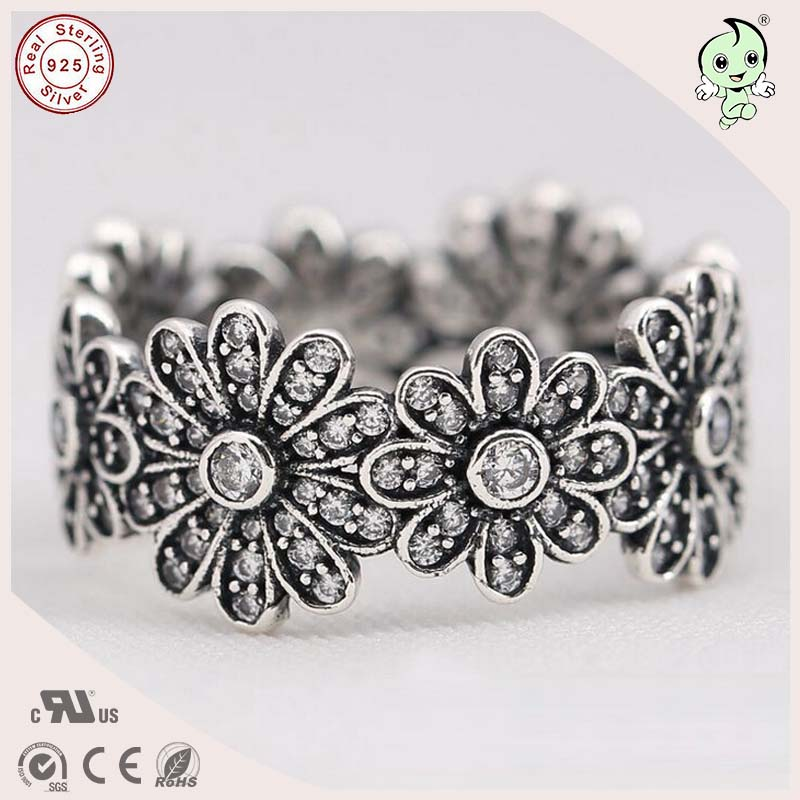 P&R products Hot Sale High Quality Exaggerated Retro 925 Real Silver Daisy Finger Party Ring for women