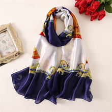 купить Silk scarf women vintage foulard bandana plus size shawl wrap high quality winter scarves holiday travel pashmina bufanda hijab дешево