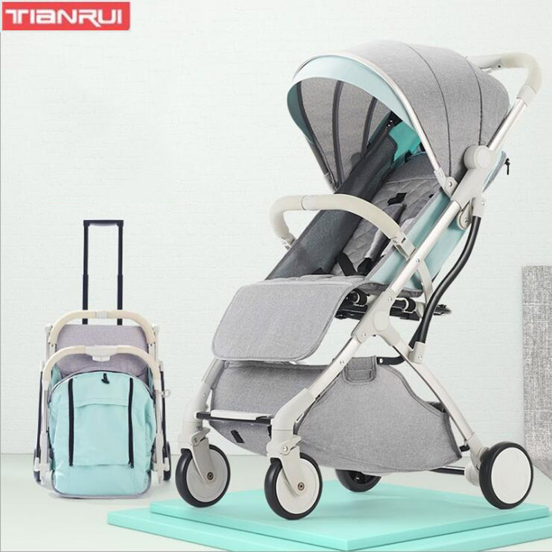 TIANRUI Baby Stroller High Landscape Stroller Can Sit And Lay Ultra Light Portable Folding Stroller Baby Seat On The Plane