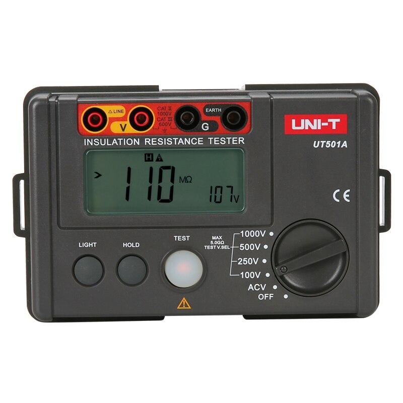 UNI T UT501A Insulation Tester; 1000V Digital Megohmmeter, Light/Buzzer Alarm, Over Load Indication, Automatic Discharge - 2