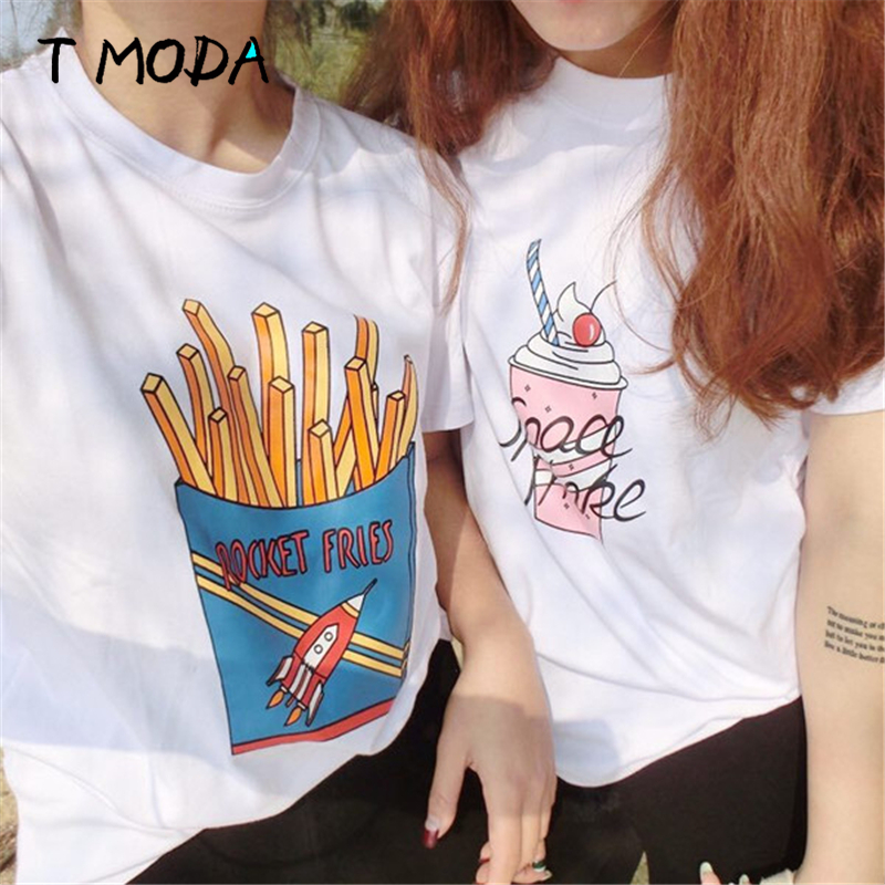 2018 neue Mode frauen Fries Gedruckt Weiß T Shirt Kurzarm Casual T-Shirt Mädchen der Lose Nette Plus Größe top Tees