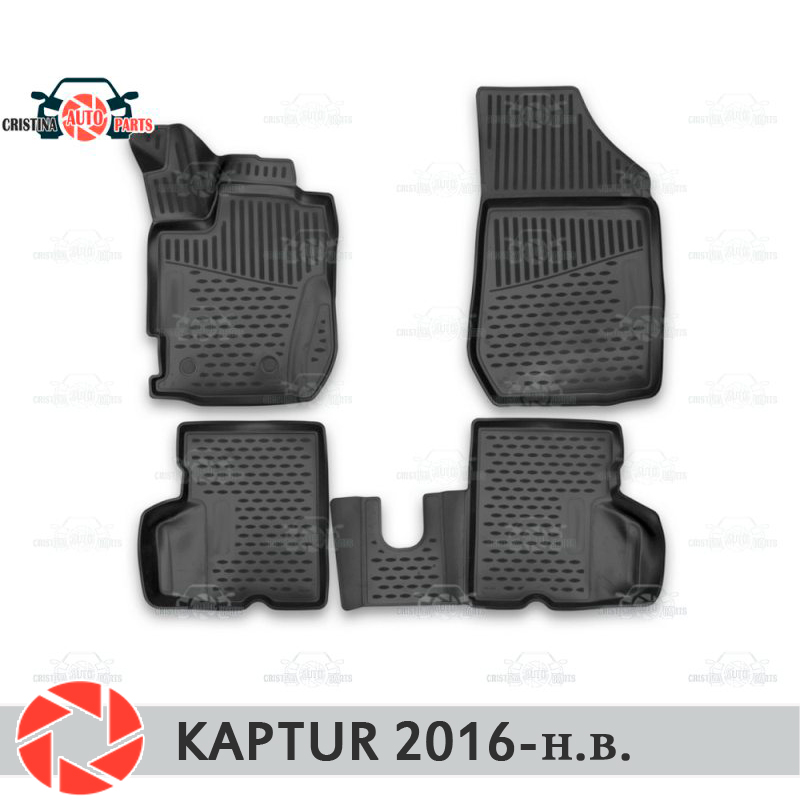 For Renault Kaptur 2016- floor mats rugs non slip polyurethane dirt protection interior car styling accessories custom car floor mats for mini countryman coupe paceman clubman cabrio roadster car accessorie car styling floor mat