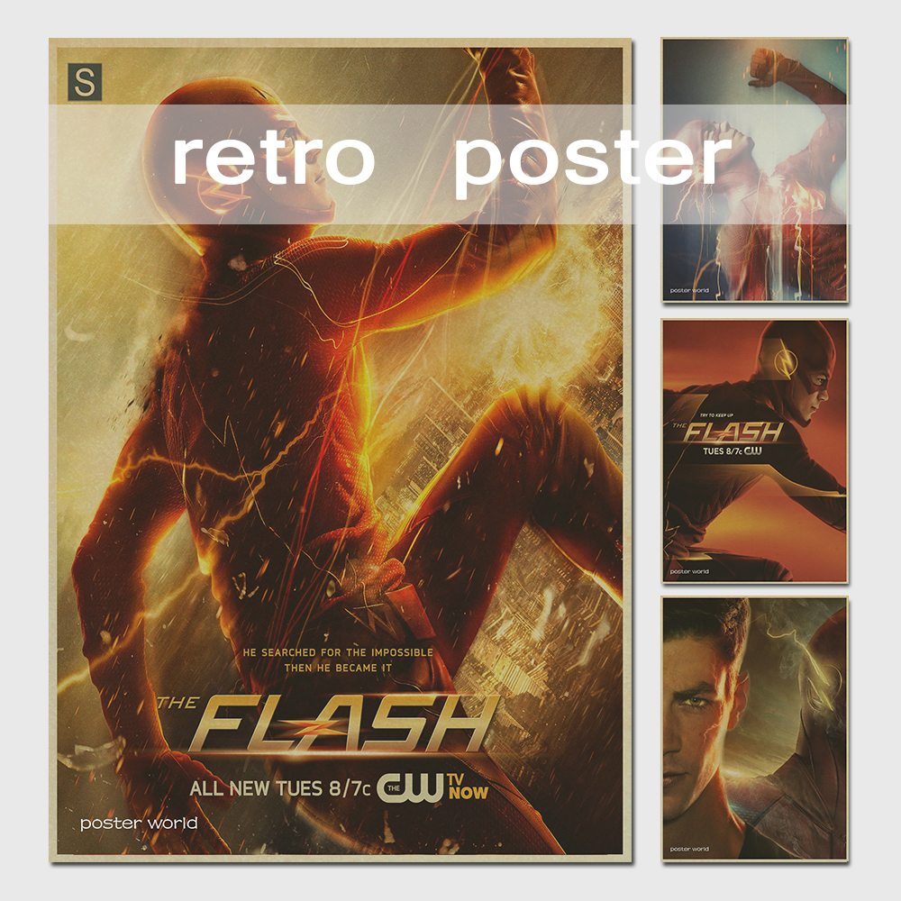 Wall stickers home decor The Flash men vintage poster retro classic movie wall stickers for kids rooms 42*30cm