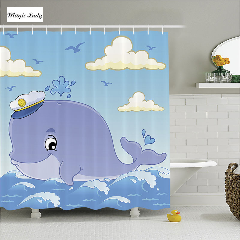 Shower Curtain Bathroom Accessories Cartoon Cartoon Whale