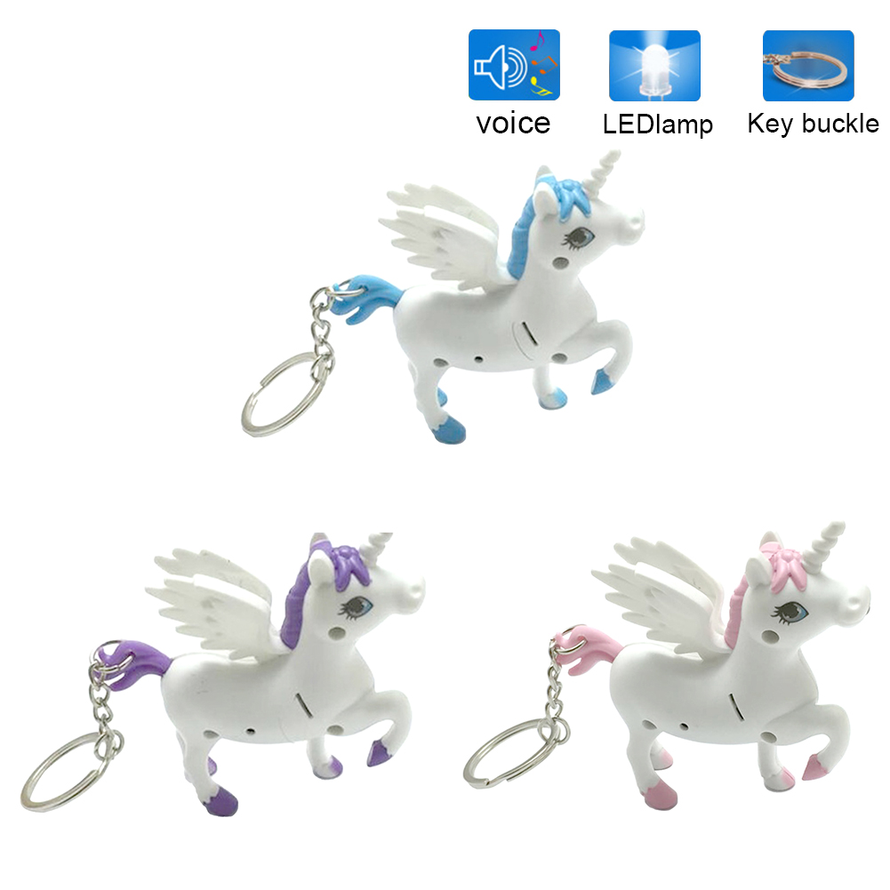 Unicorn Keyring Holder Horse Key Chains LED Light Sound Cartoon Design Gift