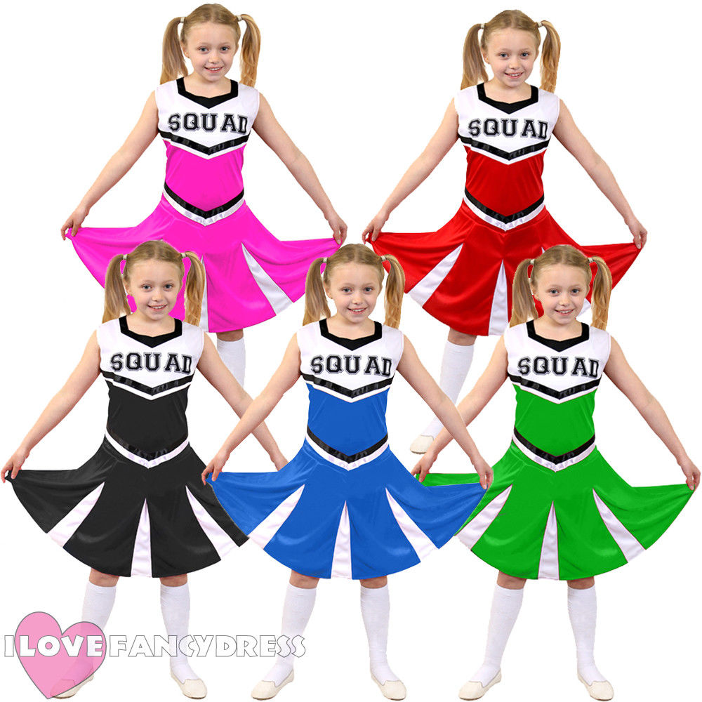 KIDS GIRL CHEERLEADER COSTUME HIGH SCHOOL UNIFORM BLACK RED PINK GREEN BLUE CHEER LEADER OUTFIT SQUAD FANCY DRESS DANCE SHOW
