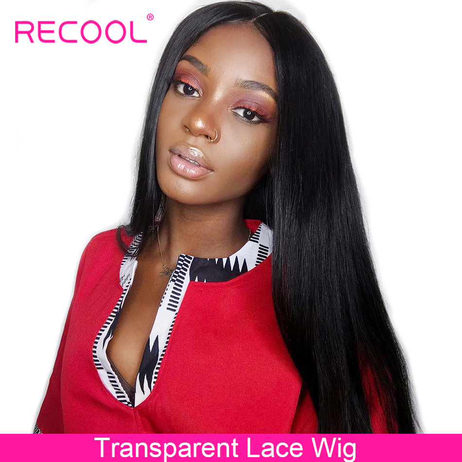 Recool Straight Lace Front Human Hair Wigs Pre Plucked HD Transparent Lace Wig 180 250 Density