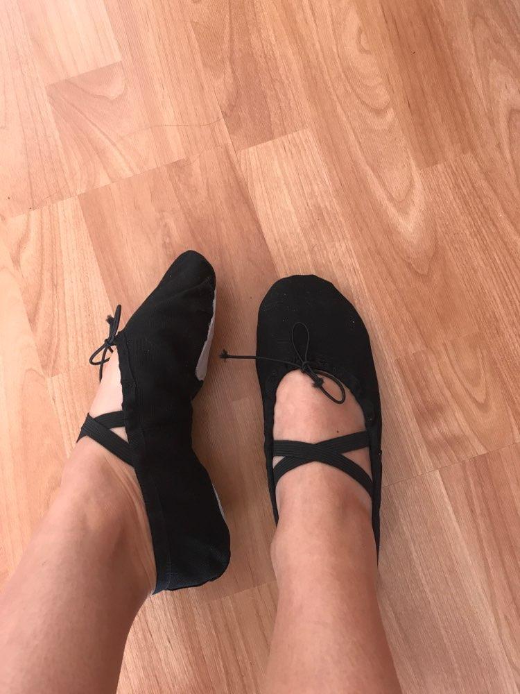 USHINE EU22-45 Cloth Head Yoga Slippers Teacher Gym Indoor Exercise Canvas Black Ballet Dance Shoes For Kids Girls Woman