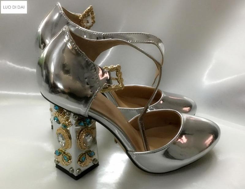 Or De Nouveauté Femmes Soirée Habillées As Pic Et Hauts Talons Pic as En Diamant 2019 Boucles Cuir Ruban Chaussures Talon Pompes Chunky xw8Zxqd4