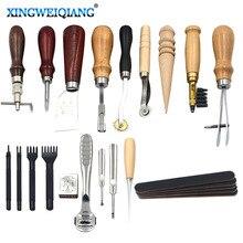 Juego de Herramientas para manualidades, 18 piezas, brocas, dispositivo de gabardina, juego de punzón, herramientas de cuero, costura, tallado de sillín