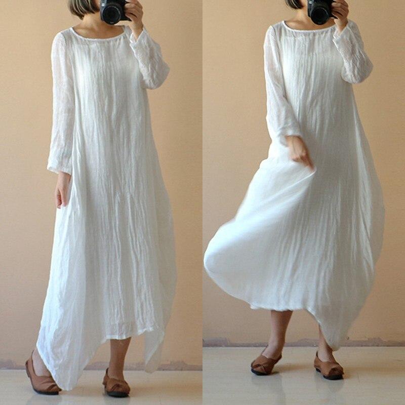 43c2f825c15 Celmia 2018 Summer Women Vintage Linen Long Vestido O Neck Long Sleeve  Cotton Linen Dress Autumn Casual Loose Solid Dress kaftan